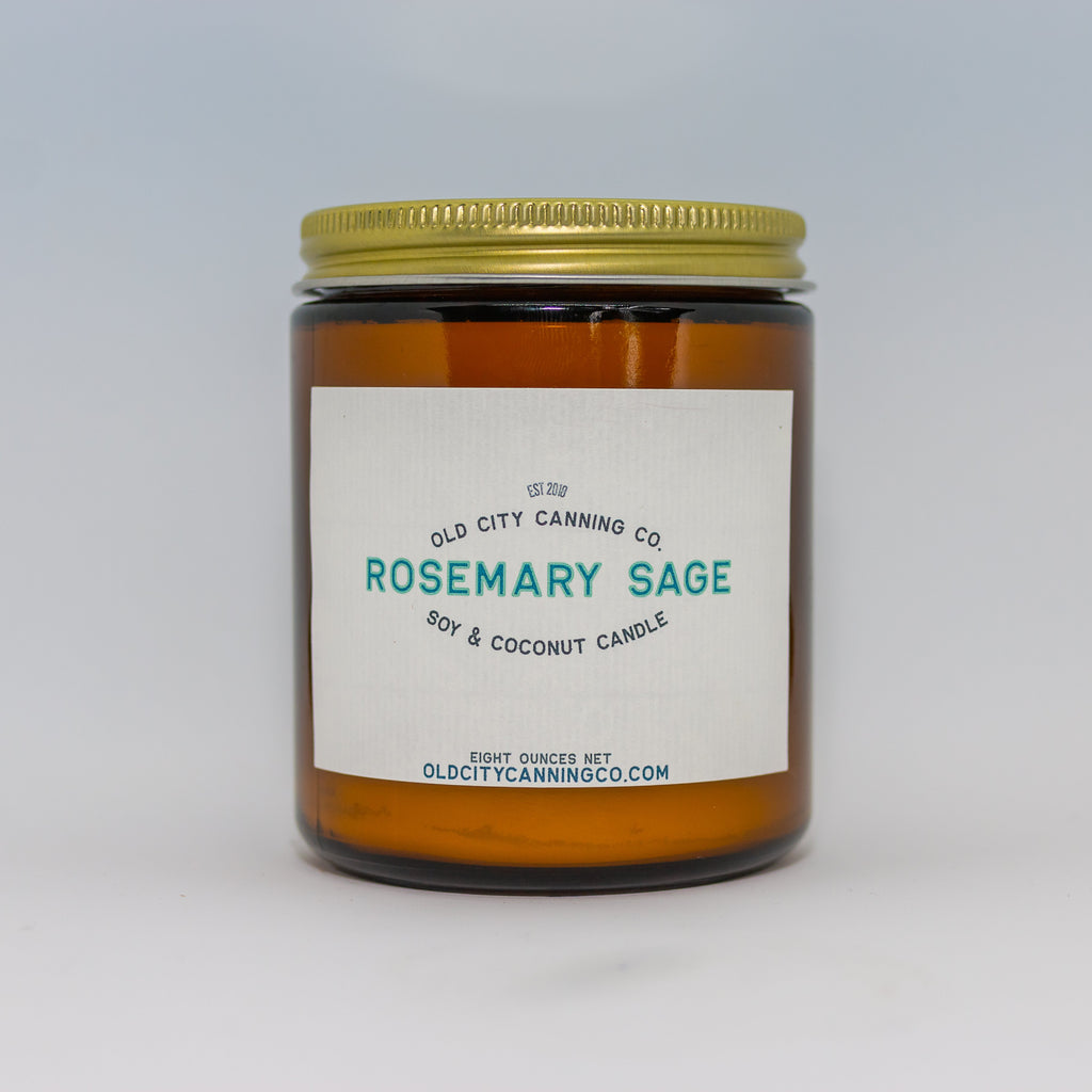 Rosemary Sage Candle Candle Old City Canning Co. Medium Amber Jar