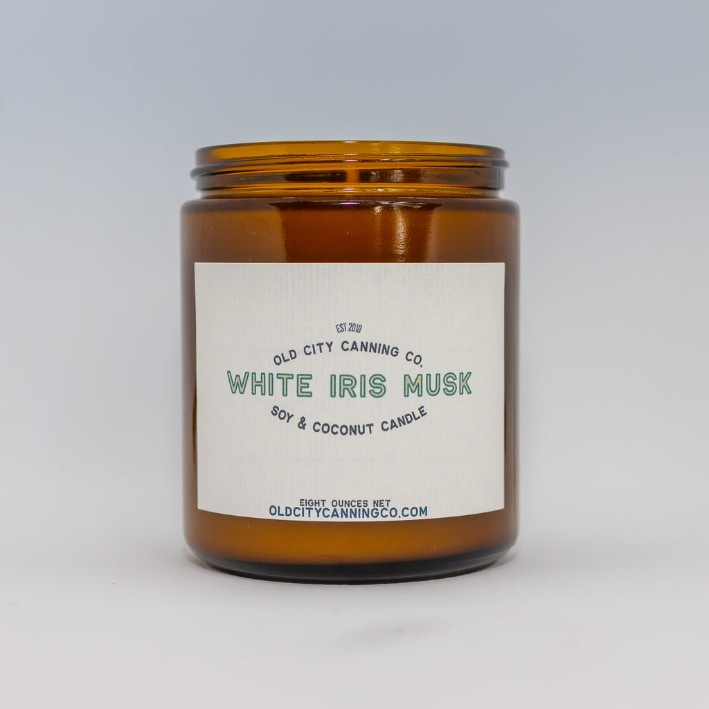 White Iris Musk Candle Candle Old City Canning Co. Medium Amber Jar