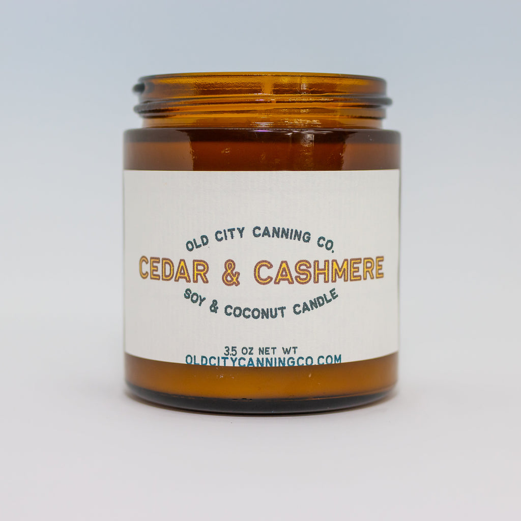 Cedar + Cashmere Candle Candle Old City Canning Co. Small Amber Jar