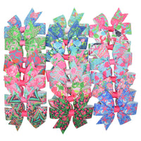 "Girls ribbon 3"" hair bows with pink, green, and blue prints"