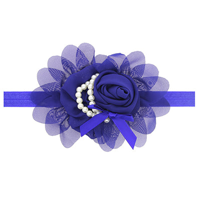 Baby Girls Purple Rose Hairband with Pearl Accent