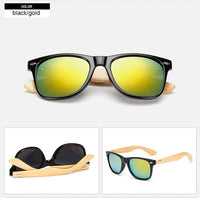 Rectangle sunglasses with bamboo wood arms. Yellow gold lens, black frame around lens