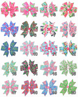 Girls Hair Bows with Bright Printed Ribbon (20pcs)