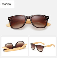Rectangle sunglasses with bamboo wood arms. Brown lens, brown frame around lens
