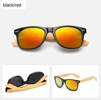 Rectangle sunglasses with bamboo wood arms. Red/Orange lens, black frame around lens