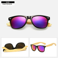 Rectangle sunglasses with bamboo wood arms. Purple lens, black frame around lens