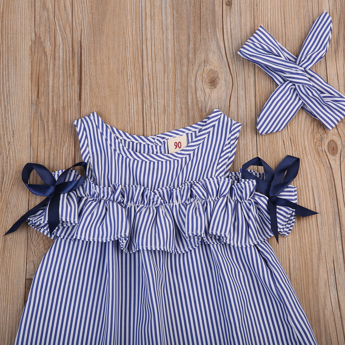 18ce6cfda Girls Blue & White Striped Sleeveless Dress with Ruffles | The Pink Bird  Boutique