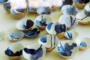 Kintsugi Eggshells Indigo and Gold