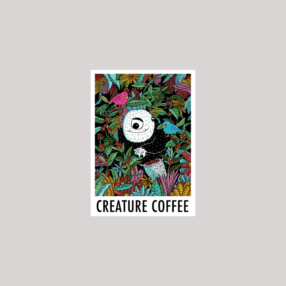 creature coffee, sticker, coffee merch, monsters in austin, coffee subscription, texas coffee, austin coffee, buy coffee beans, specialty coffee, third wave coffee, native hostel coffee, sxsw coffee shop, barista coffee subscription, dallas coffee, beans to your door, best coffee subscription, texas spoecialty coffee, decaf, swiss water process, sugarcane decaf