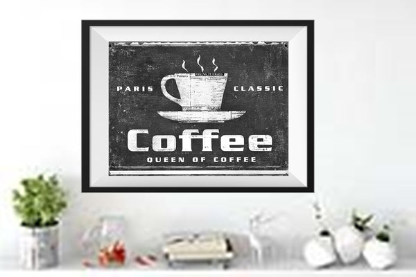 PARIS COFFEE - B/W Matted Art Print