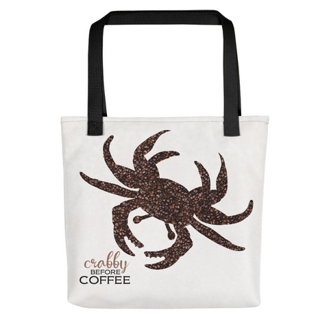 CRABBY BEFORE COFFEE Tote Bag