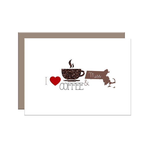 I Love Coffee & {Your State Here} Greeting Cards - SETS