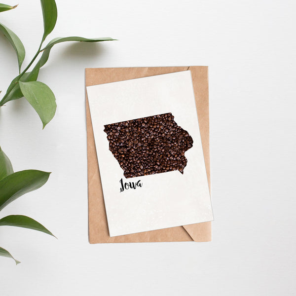 State Map Coffee Bean Greeting Cards