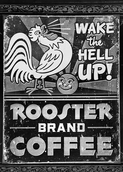 ROOSTER COFFEE - B/W Matted Art Print