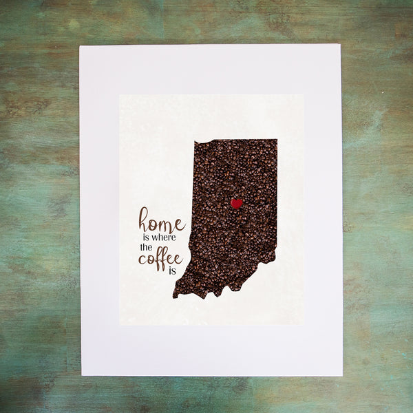 INDIANA Custom Map Art Print