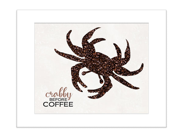 CRABBY BEFORE COFFEE Matted Art Print
