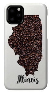 Illinois Coffee Bean Map Art - Phone Case