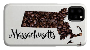 Massachusetts Coffee Bean Map Art - Phone Case