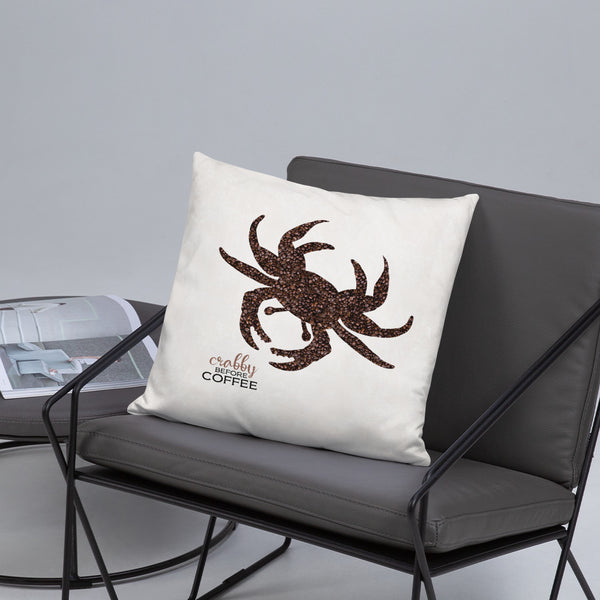 CRABBY BEFORE COFFEE Pillow