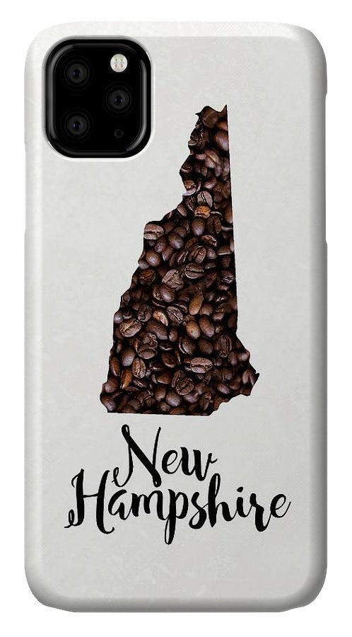 New Hampshire Coffee Bean Map Art - Phone Case