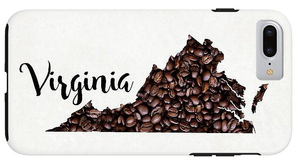 Virginia Coffee Bean Map Art - Phone Case