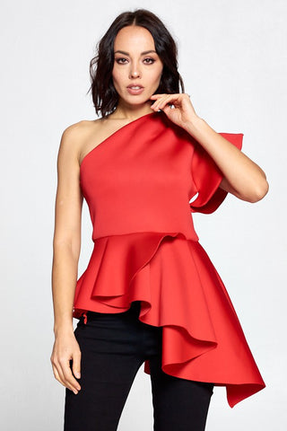 One Shoulder Solid Red Color Top