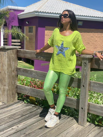 Neon Green Snake Leggings