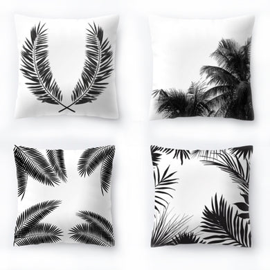 Decorative Tropical Black & White Pillow Cover 18