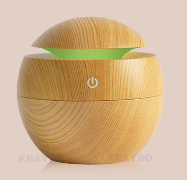 Mini USB Wooden Aroma Essential Oil Diffuser Ultrasonic Cool Mist Humidifier With 7 LED Light Color Change