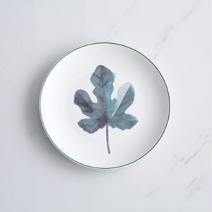 8 inch Green Plants Theme Ceramic Round Dinner Dish