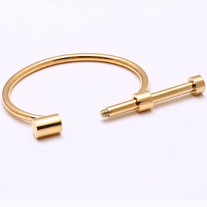Modern D Shape Screw Cuff Bangle