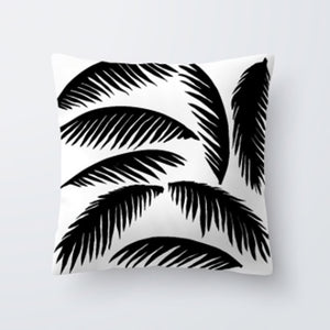 "Decorative Tropical Black & White Pillow Cover 18""x18"""