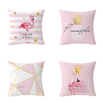 Pink Flamingos Geometric Decorative Pillow Cover 18