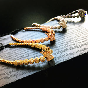 Unisex Gold Zircon Crown Bracelet