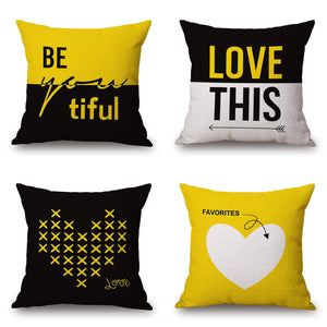"LOVE Yellow Geometric Decorative Pillow Cover 18"" x 18"""