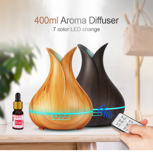 Wood Grain Cool Mist Humidifier With LED Light and Remote Control