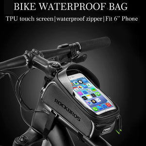Waterproof Bike Frame Saddle Bagξwith Protected Touch Screen for Cellphone