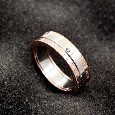 Rotation Date Ring in Titanium Steel and Rose Gold Plated