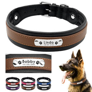 Colorful Custom Genuine Leather Dog ID Collar