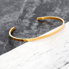 Solid Personalized Cuff Bracelet in Stainless Steel Gold Plated