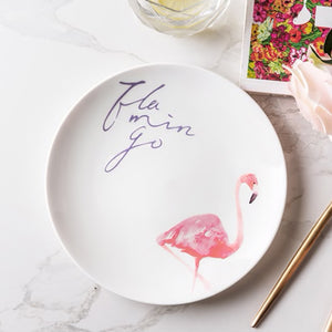 Pink Flamingo Porcelain Dinner Plates