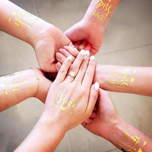 Bachelor & Bachelorette Party Gold Temporary Tattoo 5Pcs