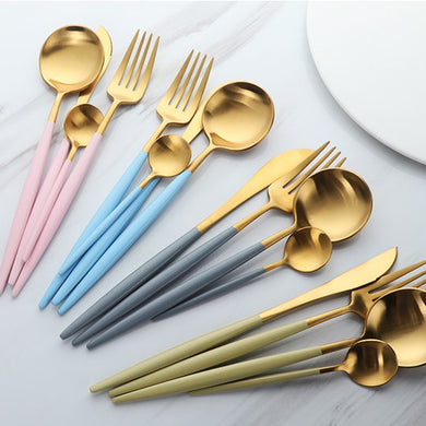 Gold Flatware 16 Pieces Hotel Collection