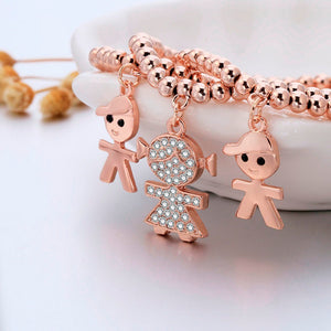 Set of Gold Boy and Girl Charms Bracelets