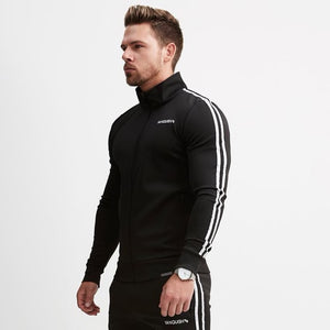 Black Cotton Fitted Striped Jogger Jacket