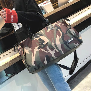 Voyager Duffle Bag in Printed Green Camo Coated Canvas