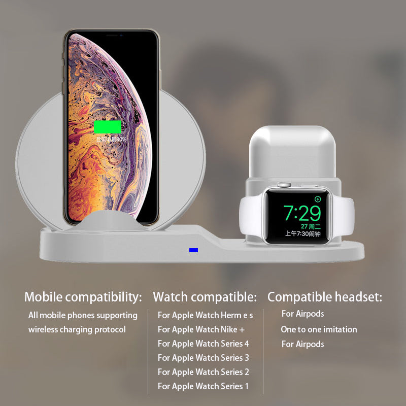 on sale 2a013 7da13 3 In 1 Fast Charge Wireless Charger For iphone XS XR XS Max Wireless  Charger Dock Station For Apple Watch Series 1 2 3 4 Airpods