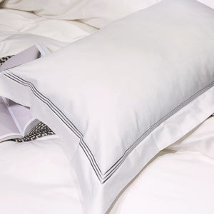Embroidered Egyptian Cotton Hotel Collection White Bedding Set