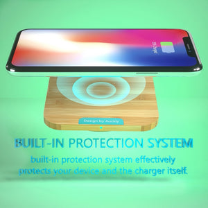 Bamboo Qi Wireless Charging Pad Ultra Slim for iPhone and Samsung Galaxy