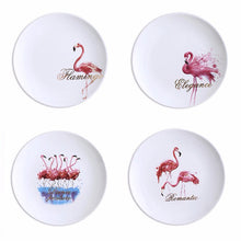 "Breakfast Set of 4 Love Flamingo Porcelain 8"" Plates and 4 Luxury Stainless Steel Gold Plated Flatware"